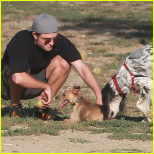 Robert Pattinson Adorably Plays Fetch With FKA Twigs' Dog