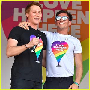 Tom Daley & Dustin Lance Black Attend Pride Parade in London