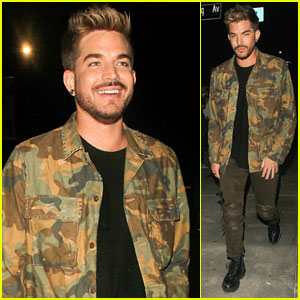Adam Lambert Keeps It Cool in Camoflauge at the Club