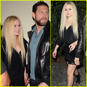Avril Lavigne Rocks Black Slip Dress & Heels for Night Out With J.R. Rotem