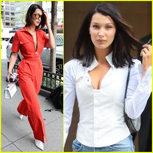 Bella Hadid Rocks Red Jumpsuit in New York City!