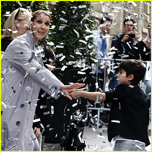 Celine Dion & Her Twins Exit Their Hotel to a Confetti Shower!