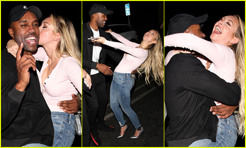 Corinne Olympios Jumps on DeMario Jackson in Extremely Animated Greeting (Photos)