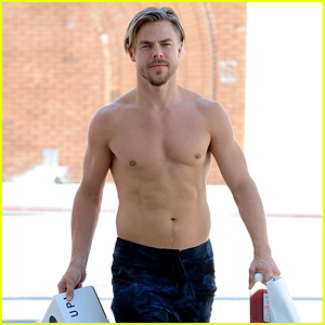 Derek Hough Skips His Shirt While Shopping at a Juice Bar