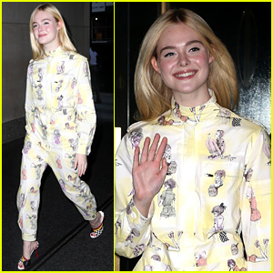 Elle Fanning Sports Whimsical Onesie While Promoting 'Leap!'