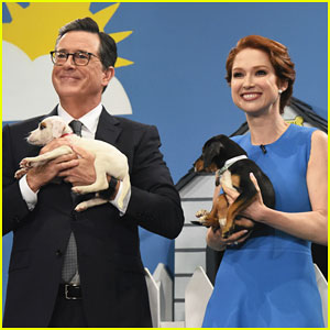 Ellie Kemper & Stephen Colbert Help Find Adorable Rescue Dogs a Home on 'Late Show' - Watch Here!