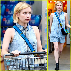Emma Roberts Looks Cute in Denim While Grocery Shopping