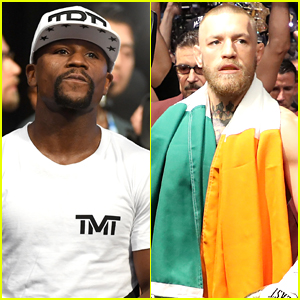 Floyd Mayweather Wears Ski Mask, Conor McGregor Wears Irish Flag for Fight Night Arrival