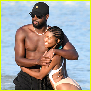 Gabrielle Union & Dwyane Wade Get Playful, Bare Hot Bodies at the Beach!