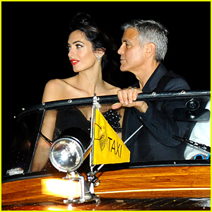 George Clooney Takes a Boat for Venice Date Night with Amal!