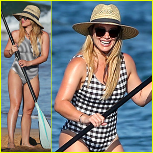 Hilary Duff Wears Checkered Swimsuit for Paddle Boarding in Hawaii!