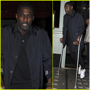 Idris Elba Leaves Dinner on Crutches in London