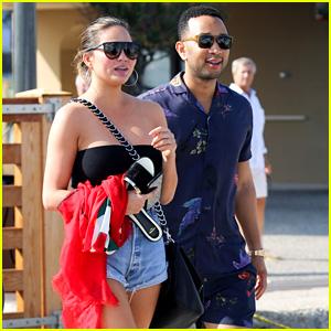 John Legend Wears Matching Shirt & Shirts in St. Tropez with Wife Chrissy Teigen