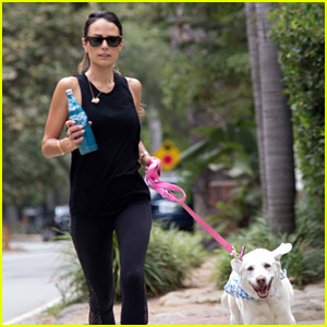 Jordana Brewster Goes for a Run with Her Pet Pooch