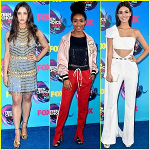Katherine Langford, Yara Shahidi, & Victoria Justice Are Young Style Stars at Teen Choice Awards 2017
