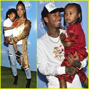 Kelly Rowland & Tyga Take Their Kids to Netflix Premiere Event!