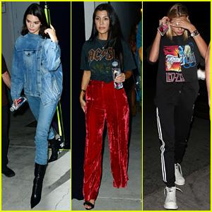 Kendall Jenner, Kourtney Kardashian, & Hailey Baldwin Attend Same Church as Justin Bieber