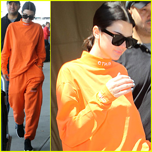 Kendall Jenner Wears All Orange for Her Flight Out of New York