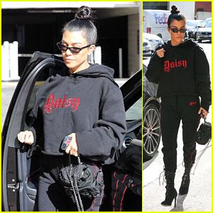 Kourtney Kardashian Rocks a Trendy All-Black Look While Picking Up Mason at Art Class!