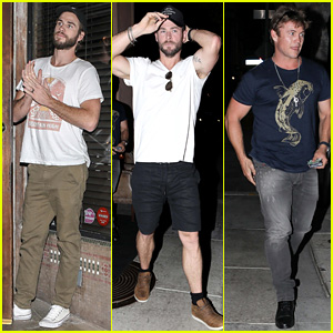 Liam, Chris, & Luke Hemsworth Grab Dinner in Santa Monica