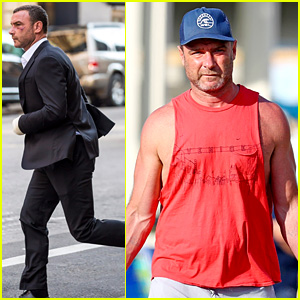 Liev Schreiber Shows Off His Arm Muscles in Red Tank Top