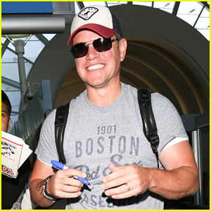 Matt Damon Flashes a Huge Smile at LAX Airport!