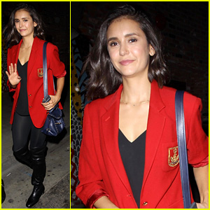 Nina Dobrev Rocks Red Blazer for Night Out at Highlight Room