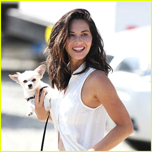Olivia Munn Walks Her Dogs on Set of 'Buddy Games' in Canada