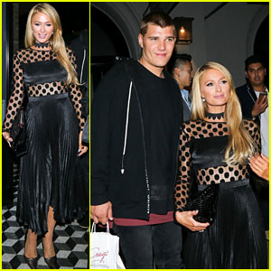 Paris Hilton Goes Glam for Dinner With Boyfriend Chris Zylka & Family