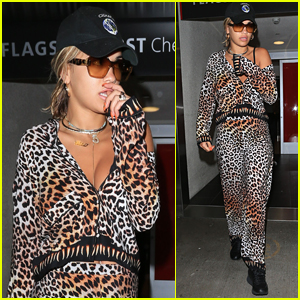 Rita Ora Rocks Leopard Print For Flight Home From Jamaica