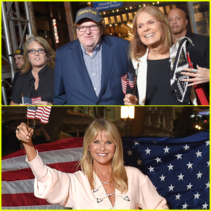 Rosie O'Donnell, Christie Brinkley, & Gloria Steinem March Through NYC to Michael Moore's Opening Night Party!