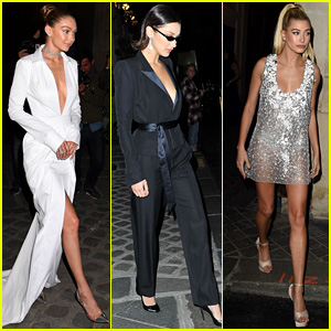 Gigi Hadid, Bella Hadid, & Hailey Baldwin Look Chic at Paris Fashion Week Dinners