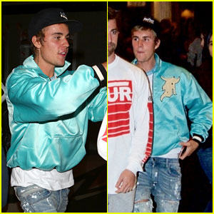 Justin Bieber Rocks Bright Blue Bomber Jacket for Late Night Church Service!