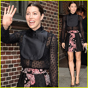 Jessica Biel Makes a Chic Arrival to 'The Late Show With Stephen Colbert'
