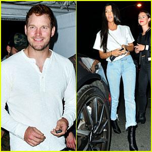 Kourtney Kardashian & Chris Pratt Wear White While Attending Church Service at Night