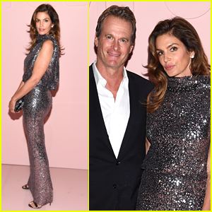 Cindy Crawford Sparkles with Rande Gerber at Tom Ford Fashion Show