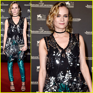 Diane Kruger Wears Teal Leather Pants at Venice Film Festival