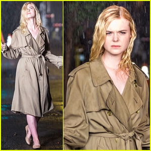 Elle Fanning Braves the Rain While Filming Woody Allen Movie