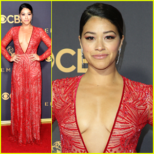 Gina Rodriguez Rocks Sheer Red Dress For Emmys 2017