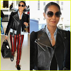 Jada Pinkett Smith Keeps It Edgy in Black & Red Leather Pants