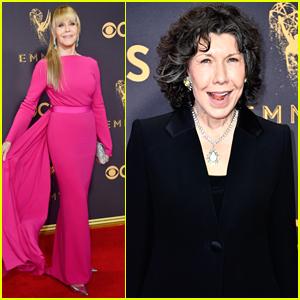 Jane Fonda Rocks a Chic Ponytail for Emmys 2017