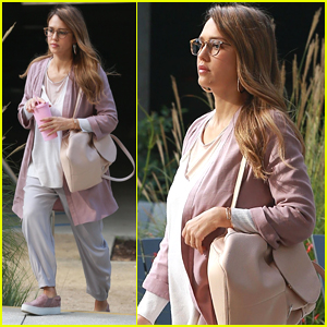 Jessica Alba Looks Pretty in Pink for a Day at the Office