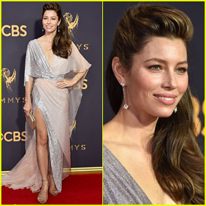 Jessica Biel Shows Some Leg at Emmys 2017
