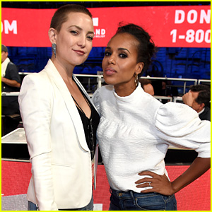 Kerry Washington & Kate Hudson Answer Calls Together at 'Hand in Hand' Benefit