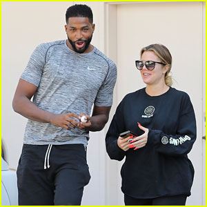 Khloe Kardashian Wears Baggy Sweatshirt While Out with Tristan Thompson