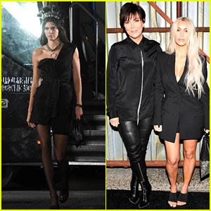 Kim Kardashian & Kris Jenner Support Kendall Jenner at Alexander Wang Show!