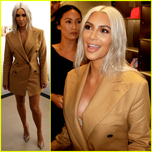 Kim Kardashian Wears a Blazer Dress at Vivienne Westwood's NYFW Event
