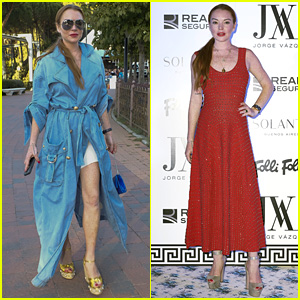 Lindsay Lohan Shows Off Her Street Style During Madrid Fashion Week