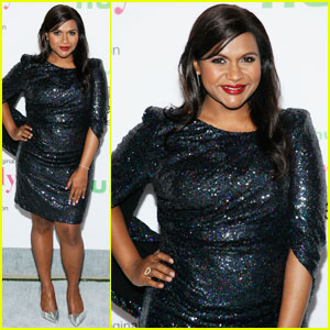 Mindy Kaling Accentuates Her Baby Bump in a Sparkly Dress