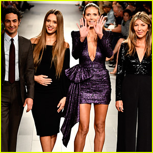 Pregnant Jessica Alba Cradles Baby Bump at 'Project Runway' NYFW Show